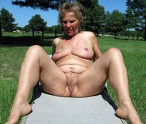 Chubby american granny naked outdoors