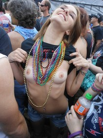 Showing off her uhm, beads