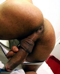 Black gay ass and cock close up