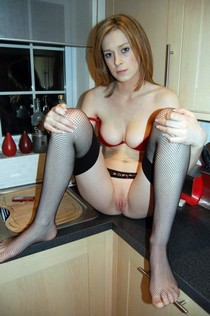 Bare Ass Redhead Wife Legs Spread On Kitchen Counter