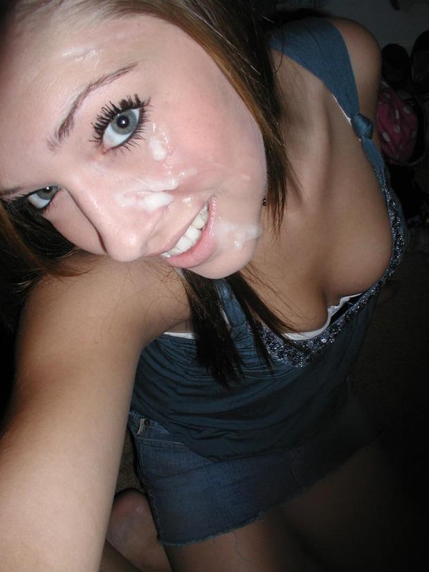 Teen amateur facialized