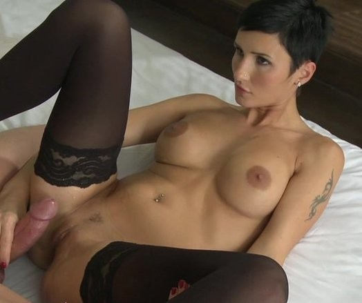 Sex black short hair girl with