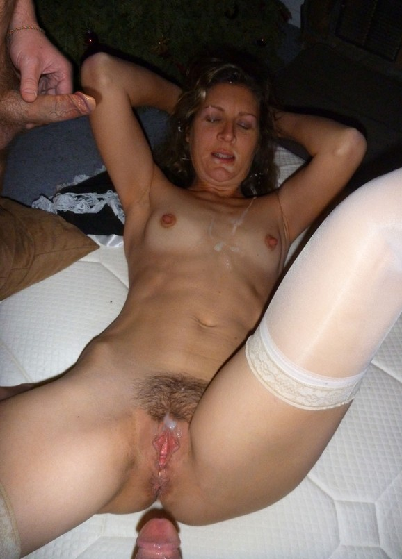 Good hairy pussy cum covered amateur wife